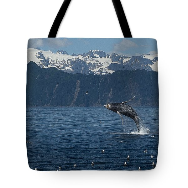 Humback Whale Arching Breach Tote Bag