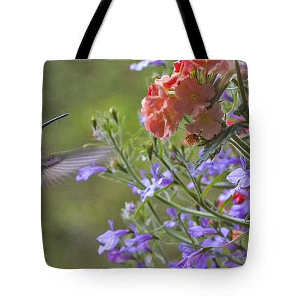 Hummer With Peach Geranium Tote Bag