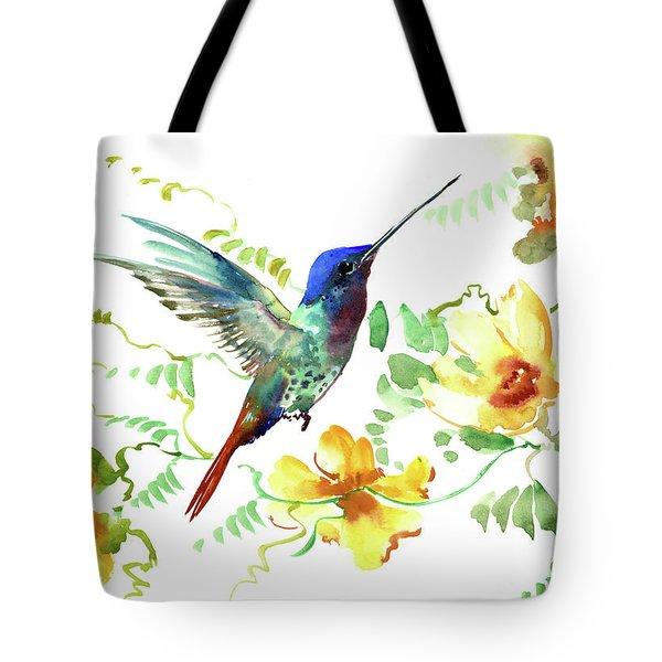 Hummibgbird And Yellow Flowers Tote Bag
