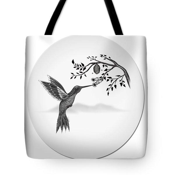 Humming Bird On Oval Tote Bag