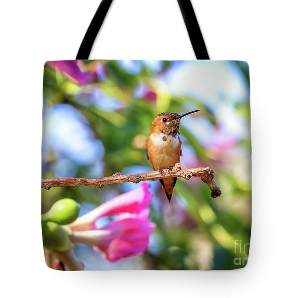 Humming Bird Pink Flowers Tote Bag by Stephanie Hayes