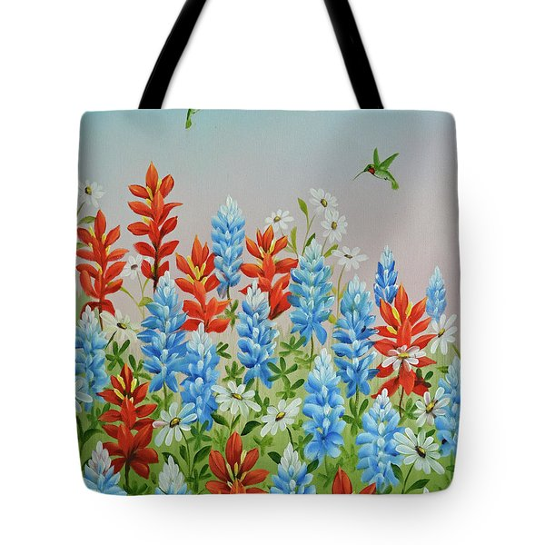 Humming Birds Feeding On Wildflowers Tote Bag by Jimmie Bartlett