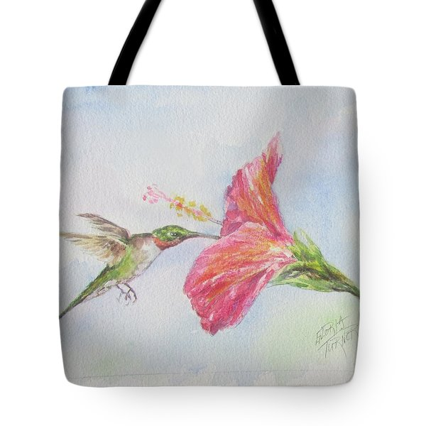 Tote Bag featuring the painting Hummingbird 1 by Gloria Turner