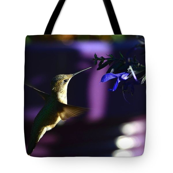 Hummingbird And Blue Flower Tote Bag