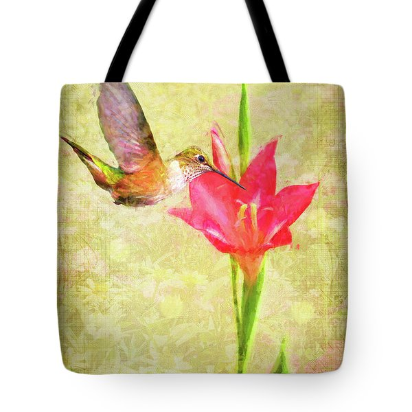 Tote Bag featuring the digital art Hummingbird And Flower by Christina Lihani