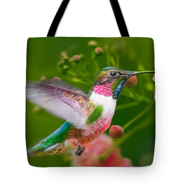 Hummingbird And Flower Painting Tote Bag