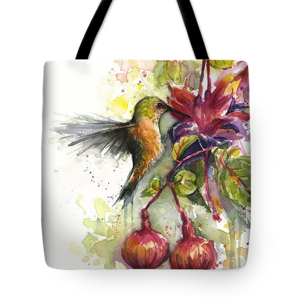 Hummingbird And Fuchsia Tote Bag by Olga Shvartsur