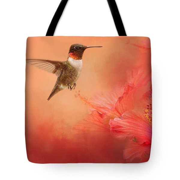 Hummingbird And Peach Hibiscus Tote Bag