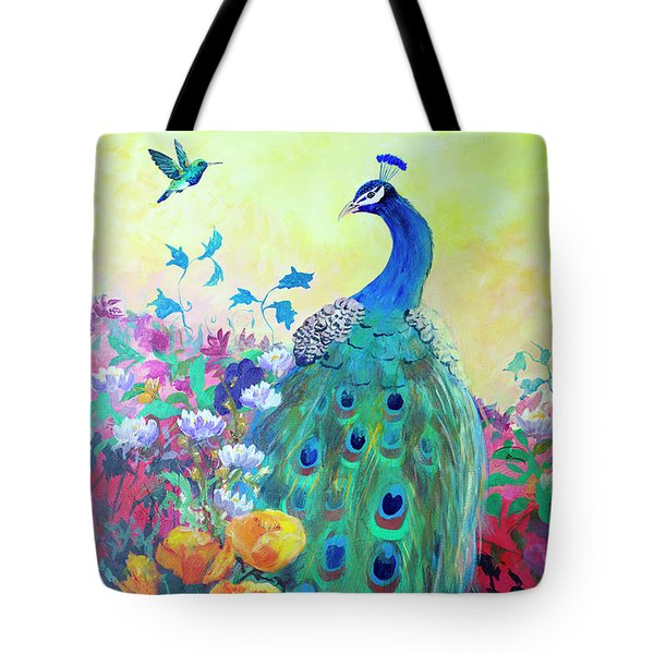Tote Bag featuring the painting Hummingbird And Peacock by Robin Maria Pedrero