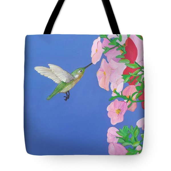 Hummingbird And Petunias Tote Bag