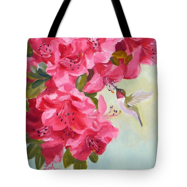 Hummingbird And Pink Azaleas Tote Bag