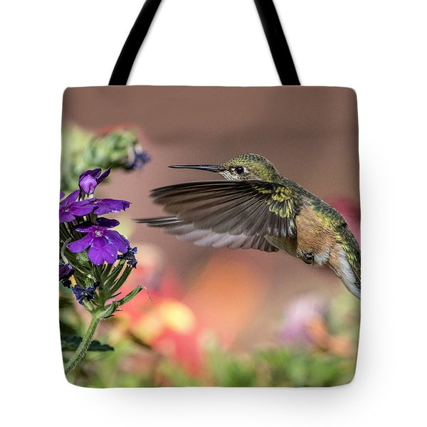 Hummingbird And Purple Flower Tote Bag