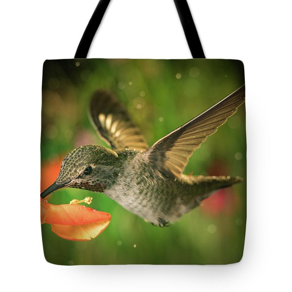 Tote Bag featuring the photograph Hummingbird And The Monkey Flowers by William Lee
