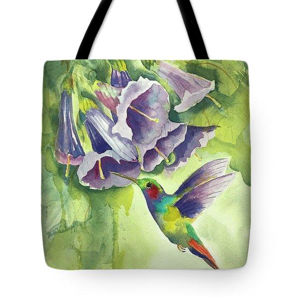 Hummingbird And Trumpets Tote Bag