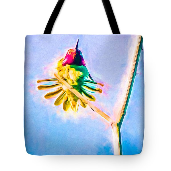 Tote Bag featuring the mixed media Hummingbird Art - Energy Glow by Priya Ghose