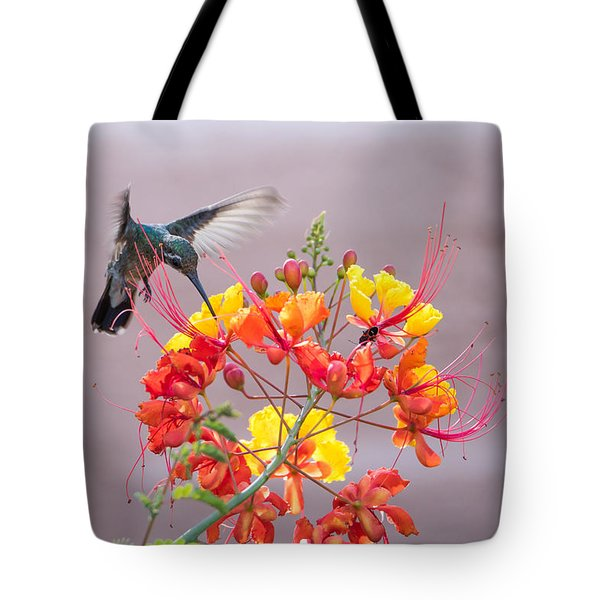 Tote Bag featuring the photograph Hummingbird At Work by Dan McManus