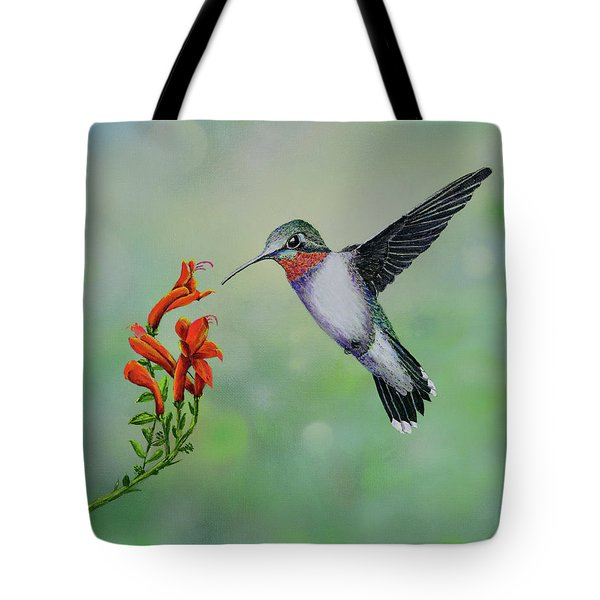 Tote Bag featuring the painting Hummingbird Beauty by Mary Scott