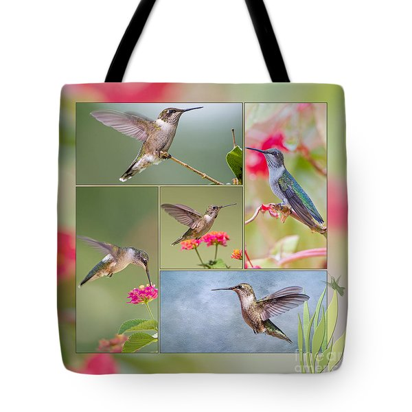 Hummingbird Collage Tote Bag
