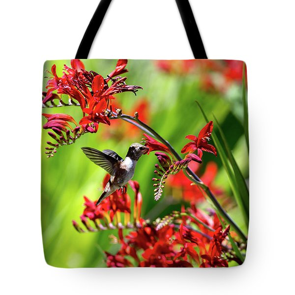 Hummingbird Getting Nectar From Flower Tote Bag