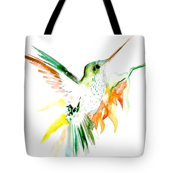 Hummingbird Green Orange Red Tote Bag