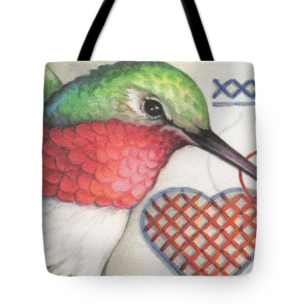 Hummingbird Handiwork Tote Bag by Amy S Turner