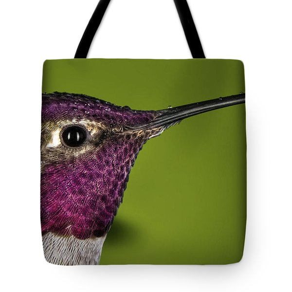 Tote Bag featuring the photograph Hummingbird Head Shot With Raindrops by William Lee