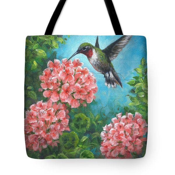 Tote Bag featuring the painting Hummingbird Heaven by Kim Lockman