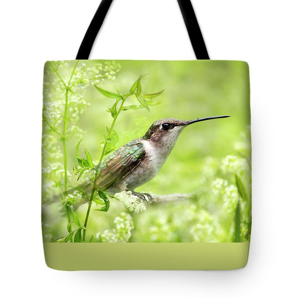Hummingbird Hiding In Flowers Tote Bag by Christina Rollo