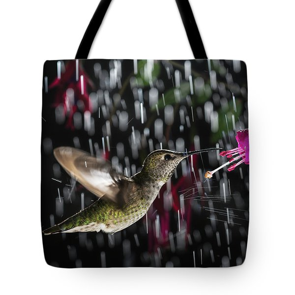Hummingbird Hovering In Rain With Splash Tote Bag