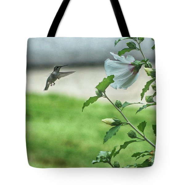 Tote Bag featuring the photograph Hummingbird In Flight by Yvonne Emerson AKA RavenSoul