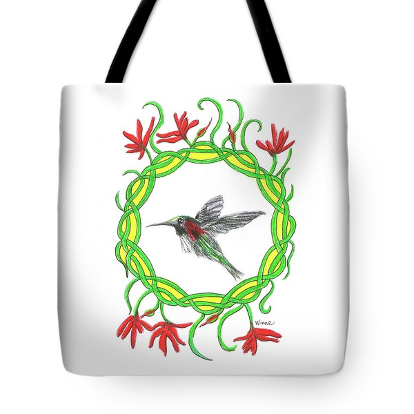 Tote Bag featuring the painting Hummingbird In Knots by Lise Winne