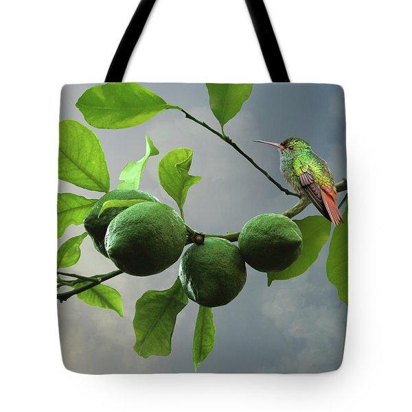 Hummingbird In Lime Tree Tote Bag