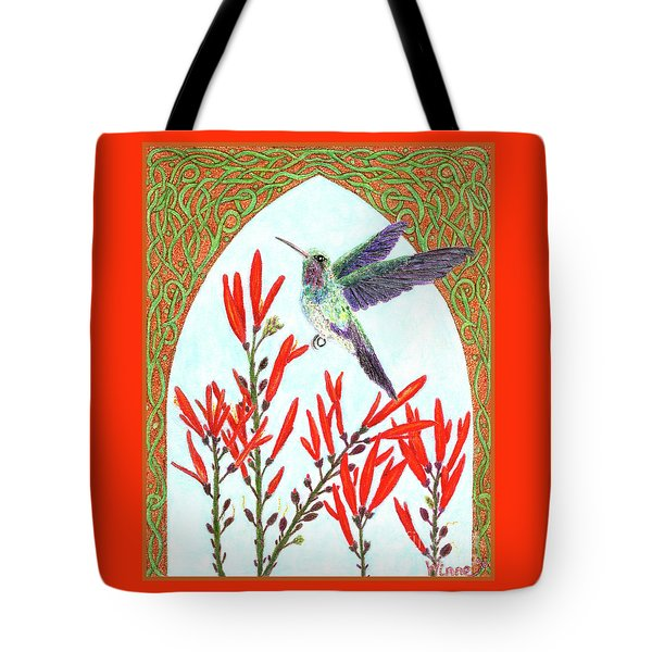 Tote Bag featuring the painting Hummingbird In Opening by Lise Winne