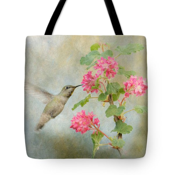 Hummingbird In Spring Tote Bag by Angie Vogel