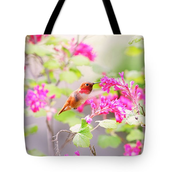 Hummingbird In Spring Tote Bag