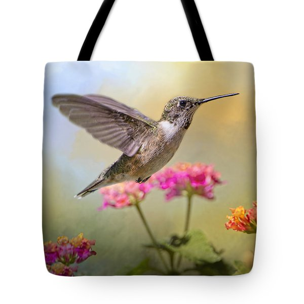 Hummingbird In The Garden Tote Bag