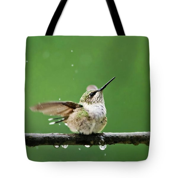 Hummingbird In The Rain Tote Bag by Christina Rollo