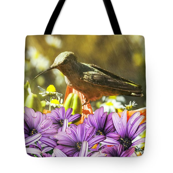 Hummingbird In The Spring Rain Tote Bag by Diane Schuster