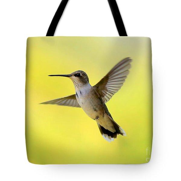 Hummingbird In Yellow Tote Bag