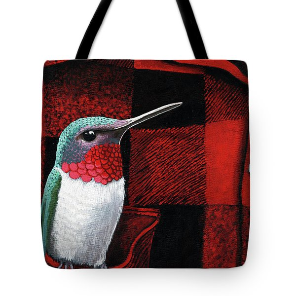 Tote Bag featuring the painting Hummingbird Memories by Linda Apple