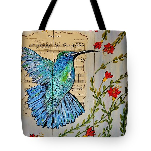 Tote Bag featuring the painting Hummingbird Minuet In G by Cindy Micklos