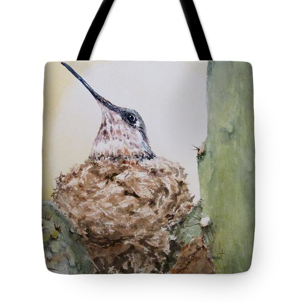 Hummingbird Nesting In Cactus Tote Bag