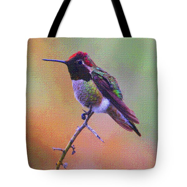 Hummingbird On A Stick Tote Bag by Tom Janca