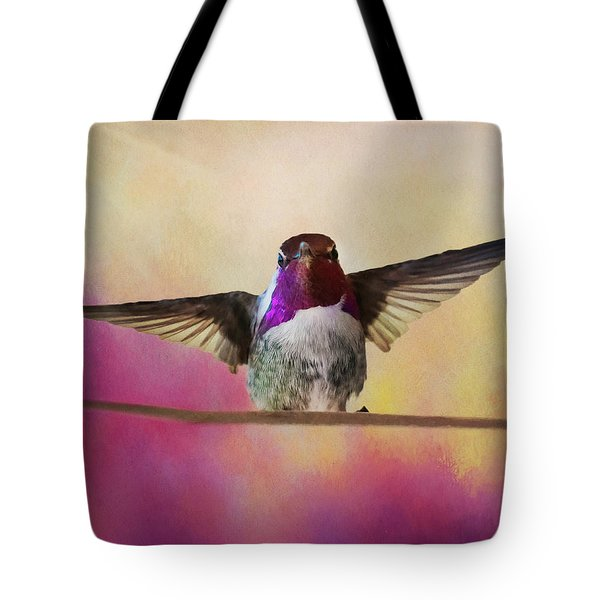Hummingbird On A Wire Tote Bag