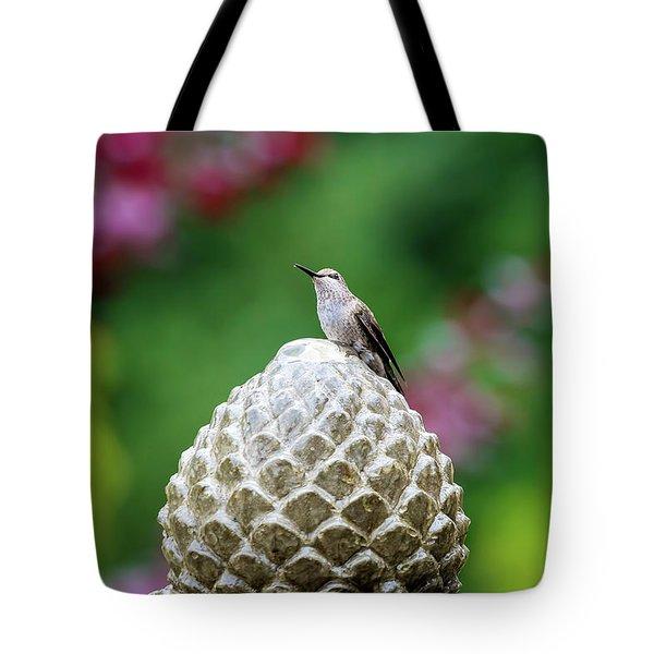 Hummingbird On Garden Water Fountain Tote Bag by David Gn