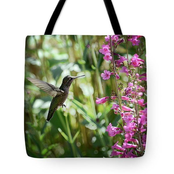 Hummingbird On Perry's Penstemon Tote Bag
