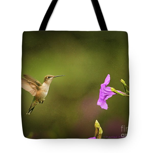 Tote Bag featuring the photograph Hummingbird Pink Flower by Charles McKelroy