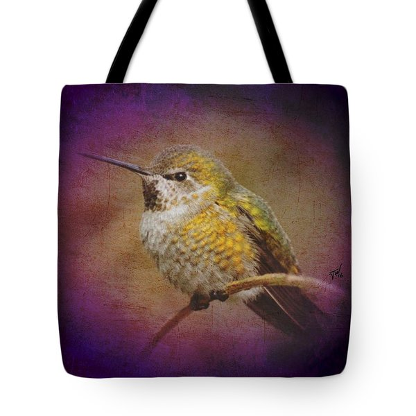 Tote Bag featuring the digital art Hummingbird Rufous by John Wills