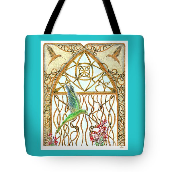 Tote Bag featuring the painting Hummingbird Sanctuary by Lise Winne