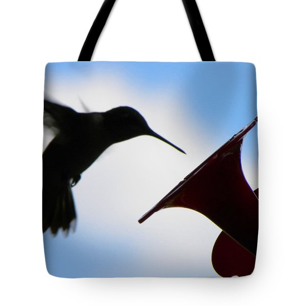 Tote Bag featuring the photograph Hummingbird Silhouette by Sandi OReilly